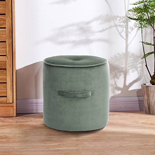 Fußhocker Fußstütze osmanischen runden Stuhl Fuß Hocker mit Luxus Samt Abdeckung-Khaki