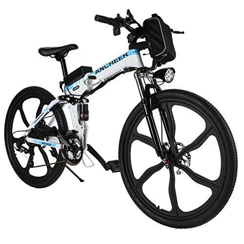 ANCHEER Elektrofahrrad Faltbares Mountainbike, 26 Zoll Reifen Elektrisches Fahrrad Ebike mit 250W bürstenlosem Motor und 36V 8Ah Lithium-Batterie Shimano 21 Gang (Mountain_weiß)