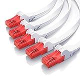 CSL – 5 x 0,25m - Cat 6 Netzwerkkabel Flach | Gigabit Ethernet LAN | RJ45 Kabel / Flachbandkabel / Verlegekabel | 10/100/1000 Mbit/s | Patchkabel / Flachkabel | Kompatibel zu Cat.5 / Cat.5e / Cat.6 | weiß