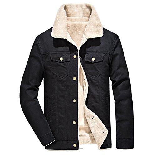 Herren Fellfutter verdickt Denim Baumwolljacke Regular Fit Jeansjacke Casual Winterjacke gefüttert fashion für Winter Frühling Herbst, Schwarz, Gr. S