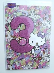 Hello Kitty carte d'anniversaire pour les 3ans par Hallmark Carte