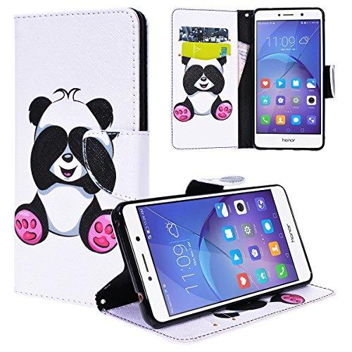 Yokata Huawei Honor 6X Hülle Leder Premium Handyhülle Handy Ledertasche Schutzhülle Flip Case Wallet Tasche Handytasche Weiche Silikon Backcover Innere mit Kartenfach Standfunction und Magnetverschluss Brieftasche Baum und Eule Motiv Muster Etui Schale Schutz für Honor 6X Cover - Panda