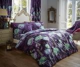 Luxury duvet cover sets printed polycotton new (Prism Purple, Curtain Set)