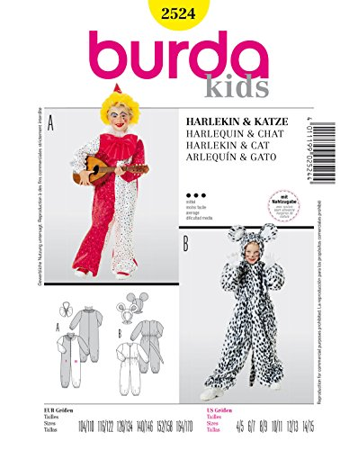 Burda 2524 Schnittmuster Kostüm Fasching Karneval Harlekin & Katze (Kids, Gr. 104-170) - Level 3 (Land Katze Kostüm)