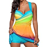 VJGOAL Damen Tankini, Damen Plus Size Farbverlauf Tankini Bikini Tops + Shorts Sets Bademode Badeanzug Badeanzug (3XL / 42, W-Regenbogen-Himmelblau)