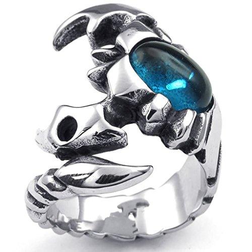 Bishiling Modeschmuck Edelstahl Ring für Männer Skorpion Zirkonia Blau Silber Herrenring Größe 60 (19.1)
