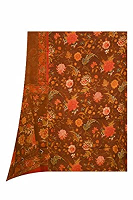 Crepe Suit Dupatta Brown Colour
