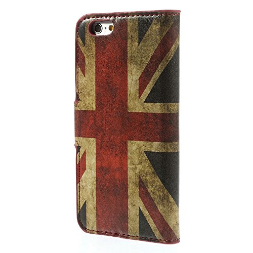 XAiOX® iPhone 6 6G 4.7 Luxus Tasche Hülle Case Cover Schutzhülle Schutzcase mit Kartenfächern Handytasche Leder-Imitat - Retro England Retro England