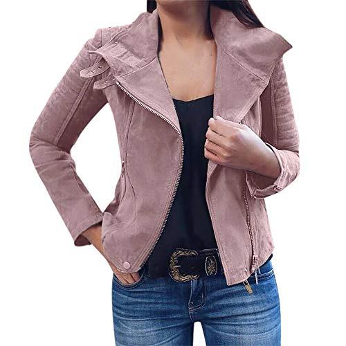 MERICAL Damen Retro Rivet Zipper Up Bomberjacke Lässig Mantel Outwear(Large,Rosa)