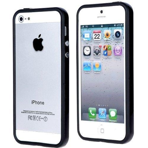 iProtect Protection Frame iPhone Custodia protettiva, cover di protezione Apple iPhone 5 5S celeste Nero