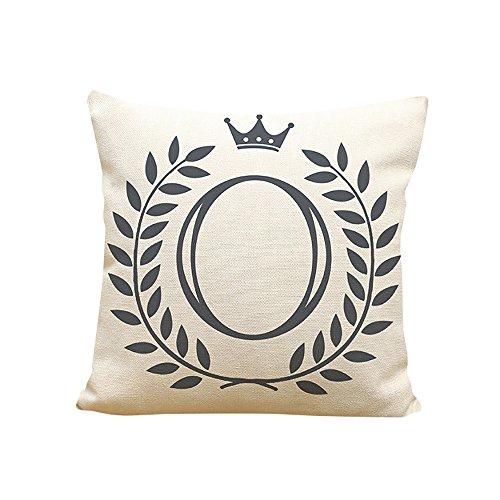 Xmiral Kissenbezug Englisches Alphabet Muster Baumwolle Leinen Pillowcase Zierkissenbezüge(O)