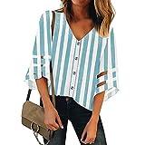 Ncenglings Damen Chiffon Kurzarm Blusen V Ausschnitt Mode T-Shirt Oberteile Elegant Hemd Top Einfarbig Kurzarm Bluse Casual Mode Knopf T-Shirt Tunika