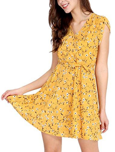 Allegra K Women's Summer Boho Crossover V Neck Petal Sleeves Belted Floral Dress