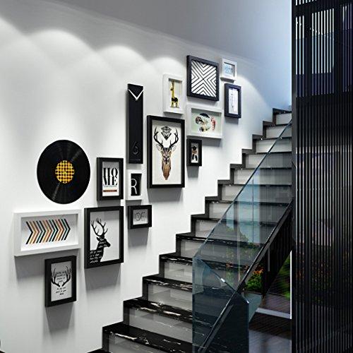 Bilderrahmen Collage Treppe kreative Massivholz Kombination Fotorahmen Luxus Wanddekoration ( Farbe : Schwarz und weiß ) (Rahmen-kunst)