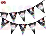 Dance Floor Disco Ball Rainbow Flash on Black background I Love 70's 80's 90's Theme Bunting Banner 15 Flags For Guaranteed Stylish Amazing party decoration by PARTY DECOR