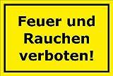 Melis Folienwerkstatt Schild - Feuer Rauchen verboten - 30x20cm | Bohrlöcher | 3mm Aluverbund – S00060-058-C - 20 Varianten