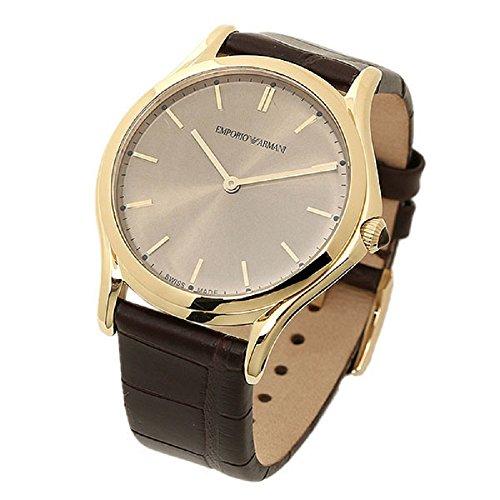 Preisvergleich Produktbild Emporio Armani Swiss Made Herren Armbanduhr Quarz Edelstahl und Leder Kleid, Farbe: Braun (Modell: ars2004)
