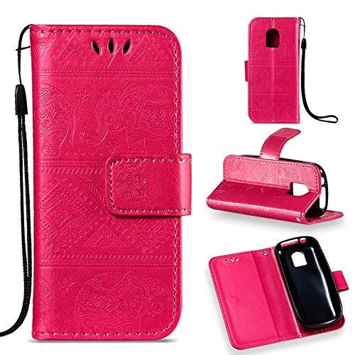 Guran® Custodia in Pu Pelle Flip Cover per Nokia 130 (2017 Version) Smartphone Avere Funzione Stent Modello Embossato di Elefante Copertura Protettiva - Rosa Rossa