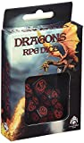 Unbekannt Q-Workshop DRA02 - Dadi, motivo: dragoni, 7 pz, colore: Rosso/Nero