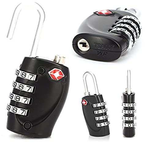 2 x TSA Security Padlock - 4-Dial Combination Travel Suitcase Luggage Bag Code Lock (Black) (borse e valigie Borse)