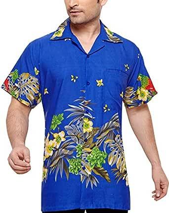 CLUB CUBANA Men's Regular Fit Classic Short Sleeve Casual Floral Hawaiian Shirt S Navy Blue