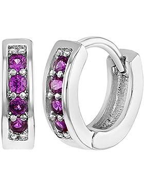 In Season Jewelry Baby Mädchen - Creolen Ohrringe Kleine Rhodiniert Heiß Rosa CZ Zirkonia 10mm