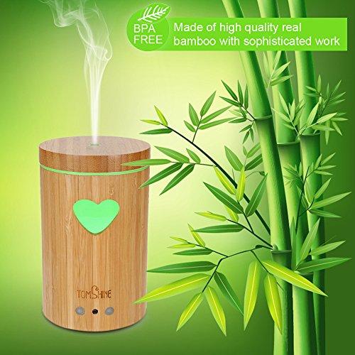 Tomshine 160LM Bambus Luftbefeuchter Holzmasserung Aroma Diffusor Humidifier mit Fernbedienung 7 Lichtfarben, Niedrigwasserschutz,4 Zeiteinstellung für Yoga Kinderzimmer Schlafzimmer Krankenhaus Büro - 2