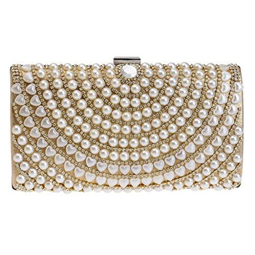 BF-Handbag , Damen Clutch weiß weiß Einheitsgröße goldfarben