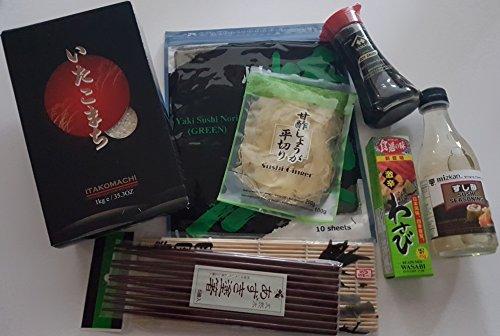 Sushi Zutaten Set Grundzutaten: Sushi-Reis, Sushi-Su Reisessig (fertig gewürzt), Sojasauce, Noriblätter, eingelegter Ingwer, Wasabi, Bambussmatte, 5 Paar lackierte Stäbchen,