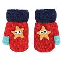 Zeltauto Unisex Baby Knitted Mitten Starfish Design Gloves (Red, Without String)