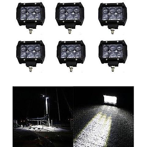 6x 30W luz LED de trabajo Bar Offroad 12V 24V ATV Offroad spot para Truck 4x4 UTV,12V,negro