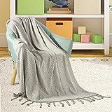 Uarter gestrickte Decke 100% Baumwolle Bettwäsche Decke leichte Sofa Decken für Haus, Picknick und Reisen, 70.9''x47.2 '', hellgrau