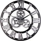Vintage Clock, European Retro Vintage hechos a mano de madera del reloj de pared decorativos Vintage arte 3D, número romano silencioso reloj de pared para cocina living comedor casa decoracion del hotel