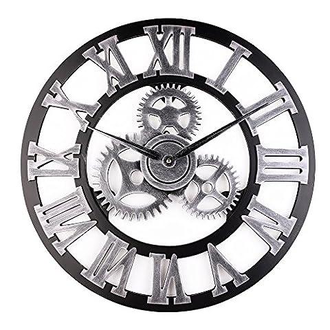 Retro Vintage Européenne Handmade 3D Engrenage Décoratif en Bois Vintage Horloge Murale Chiffre romain Horloge Pour la décoration de la famille salon / cuisine Hotel