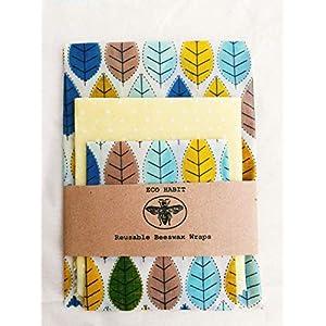 Set von 3 (Extra groß + groß + mittel) 100% Natural Beeswax Food Wraps, Natürliche Bienenwachstücher Lebensmittelwraps