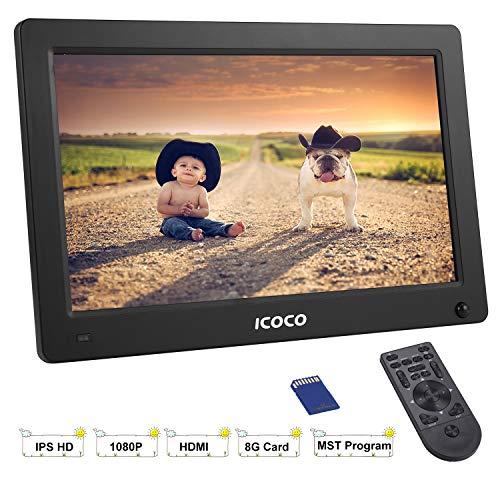 Digitaler Bilderrahmen 11.6 Zoll, ICOCO HD 1920*1080P IPS LCD Display mit Bewegungssensor/Kalender/Uhr Funktion, Musik/Foto/Videoplayer mit Fernbedienung, 8G SD Karte