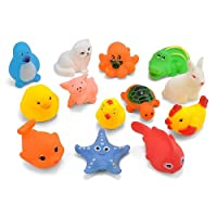 YSoutstripdu 13Pcs Baby toddlers Animal Duck Rabbit Cat Bath Time Squeaky Water Floating bathtub Toys