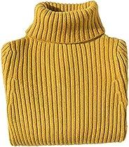 Jersey de Cuello Alto Niños Niñas Suéter Grueso de Otoño Invierno Prendas de Punto de Manga Larga