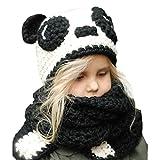 Moonuy Baby Winter Hut Schal, Winter Kinder Warme Nette Panda Tier Hüte Strickmütze Schal Mützen für Herbst Winter Heißer Baby Jungen Baby mädchen Hüte + Schal (A)