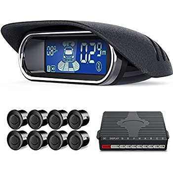 aokur 8 Parking Sensors Dual-core Car Reverse Backup Radar Alert System Front and Rear LCD Display Buzzer BiBi Alarm for All Car