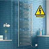 iBathUK | 1600 x 600 Electric Chrome Heated Towel Rail Bathroom Radiator - All Sizes