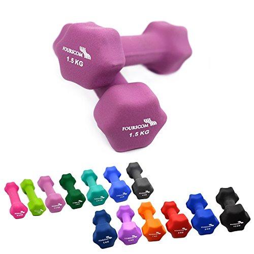 2er Set FOURSCOM® 2x 1,5kg Neopren Hanteln Kurzhanteln Gymnastikhanteln, 13 verschiedene Gewichte und Farben zur Auswahl