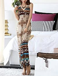 ZLL Gaine Robe Femme Plage Vacances Vintage Bohème,Imprimé A Bretelles Maxi Sans Manches Polyester Eté Taille Haute Micro-élastique Fin , xl