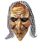 The Twiddlers Máscara de Bruja Vieja de Latex con Cabello y Bufanda Fiestas de Disfraces de Halloween - Eventos - Carnavales - Disfraz