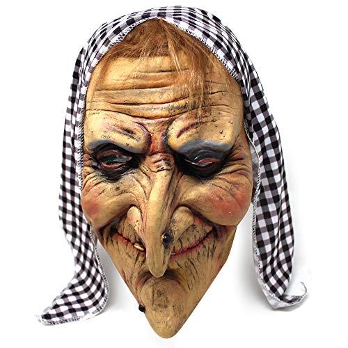Neuheit Alte Hexe Latex Maske mit Haar & Kopftuch - Super für Halloween partys, Dekorationen - Trick & Treaters Verkleiden Karneval usw