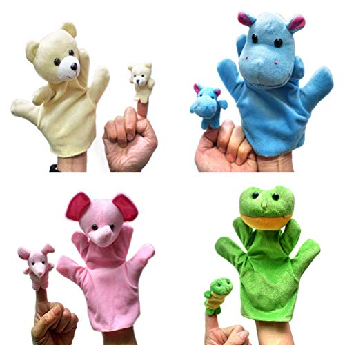 STOBOK 4 Sets Animal Finger Puppets Hand Puppet Plush Cute Animals Family Puppets Hippopotamus Bear Frog Elephant for Kids Babies Toddlers Imaginative Play