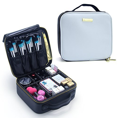 Makeup Train Case, OR Pure Professional Makeup Case,Portable Travel Makeup Cosmetic Bag Makeup Brush Holder with Adjustable Divider MakeUp Artist Organizer Bag Toiletry Storage Case (White)