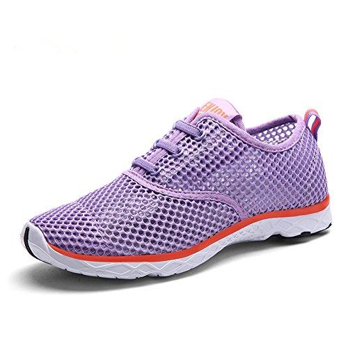 YIRUIYA Damen Aquaschuhe Gitter Fitnessschuhe Wassersportschuhe Bootsportschuhe Schwimmschuhe Violett