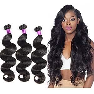 Corps vierge brésilien Cheveux 3 Bundles Body Wave 100g Sans traitement naturel Couleur 100% Extensions de cheveux humains (14 16 18inch)
