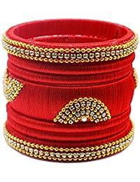Designer Royal SIlk Thread Bangle Set For Women & Girls With Gold Color Beads White Stones (Set Of 7)